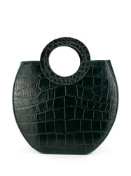 Staud Frida Crocodile Embossed Bag Green