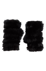 Jocelyn Women's Genuine Rabbit Fur Fingerless Mittens Black