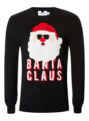 Topman Black Banta Claus Christmas Jumper