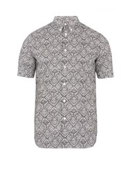 Alexander Mcqueen Lace Print Cotton Poplin Shirt Black Multi