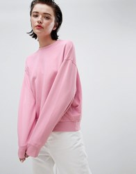 Weekday Cropped Sweatshirt In Pink