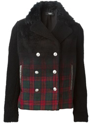 Versus Plaid Fur Collar Jacket Black