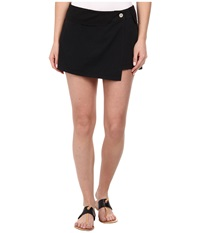 Michael Stars Cotton Twill Asymmetrical Wrap Skort Black Women's Skort