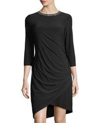 Chetta B 3 4 Sleeves Bead Neck Draped Dress Black