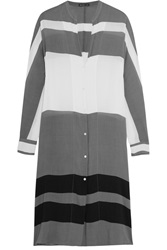 James Perse Striped Voile Shirt Dress Gray