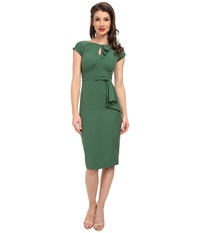 Stop Staring Classic Keyhole Neck Dress Green Women's Dress