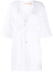 Tory Burch Cut Out Detail Scalloped Edge Blouse White