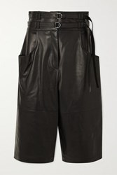 Proenza Schouler Belted Leather Shorts Black