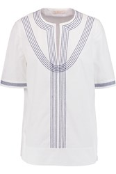 Tory Burch Embroidered Cotton Poplin Top White