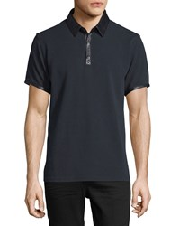 Daniel Won Leather Trim Short Sleeve Pique Polo Shirt Black Men's