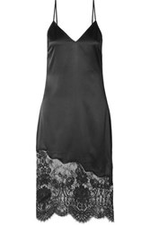 Cami Nyc The Selena Lace Trimmed Silk Charmeuse Dress Black