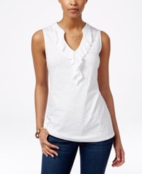 Charter Club Petite Sleeveless Ruffled Top Only At Macy's Bright White