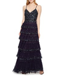 Parker Black Miranda Tiered Sequin Tulle Formal Gown Dress Blue
