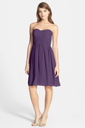 Donna Morgan Sarah Strapless Ruched Chiffon Dress Purple