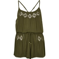 River Island Womens Khaki Lace Trim Romper