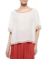 Dkny Short Sleeve Peasant Blouse With Embroidered Trim Muslin Tamarin
