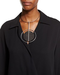 Ralph Lauren Collection Round Wood Pendant Necklace Black