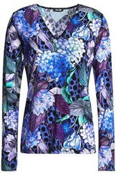 Just Cavalli Printed Stretch Jersey Top Royal Blue