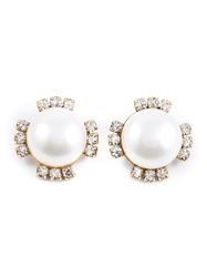 Chanel Vintage Pearl And Crystal Embellished Earrings Metallic