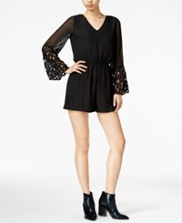 Bar Iii Lace Trim Romper Only At Macy's Deep Black
