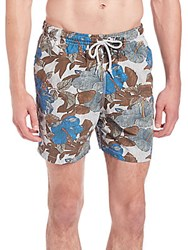 Saks Fifth Avenue Hibiscus Print Swim Trunks Blue