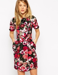 Asos Mini Dress With Drape Pockets In Floral Print