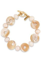 Kenneth Jay Lane Woman Gold Tone Shell And Faux Pearl Bracelet White