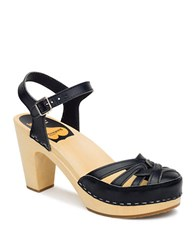 Swedish Hasbeens Agneta Leather Platform Sandals Black
