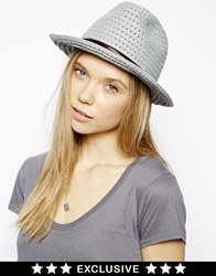 Catarzi Exclusive To Asos Honeycomb Trilby Hat With Tan Trim Grey