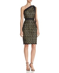 Boutique Moschino One Shoulder Macrame Lace Dress Black Yellow
