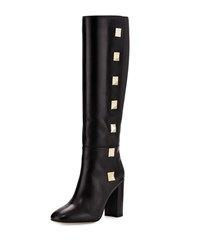 Valentino Rockstud Leather High Heel Knee Boot Black