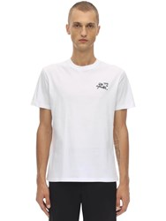 Raf Simons Embroidered Cotton Jersey T Shirt White