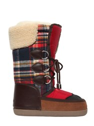 Dsquared Nylon And Plaid Wool Snow Boots