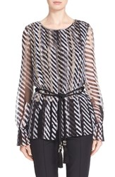 Women's St. John Collection Pleated Stencil Stripe Georgette Blouse