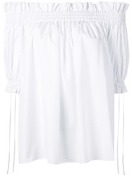 Alexander Mcqueen Off The Shoulder Smocked Blouse White