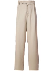 Yang Li Contrast Panel Wide Leg Trousers Nude And Neutrals