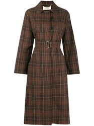 Ports 1961 Checked Trench Coat Brown