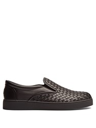 Bottega Veneta Intrecciato Leather Slip On Trainers Black