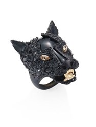 Alexis Bittar Crystal Jaguar Ring Black