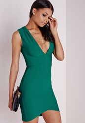 Missguided Bandage Plunge Bodycon Dress Green Green