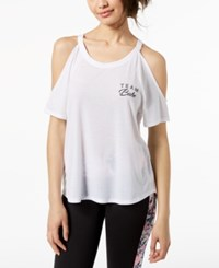 Material Girl Active Juniors' Cold Shoulder T Shirt Created For Macy's White