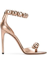 Alaia Studded Sandals Metallic