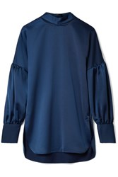 By Malene Birger Allica Cutout Washed Satin Blouse Storm Blue