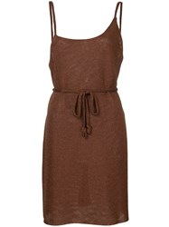 Kacey Devlin Asymmetric Mini Dress Polyester Brown