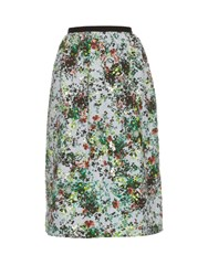 Erdem Lizzie Field Flower Print Gathered Waist Skirt Green Multi