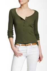 J.Crew Factory Circle Snap Henley Thermal Green