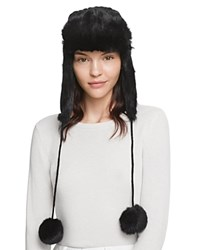 Surell Rabbit Fur Knit Aviator Hat Black