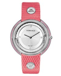 Versace 39Mm Thea Pink Sapphire And Diamond Watch W Leather Strap Gray