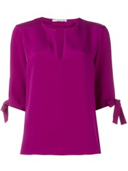 Etro Knot Detail Half Sleeve Blouse Pink And Purple