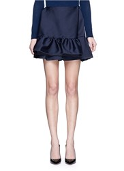 Ms Min Silk Blend Ruffle Mini Skirt Blue